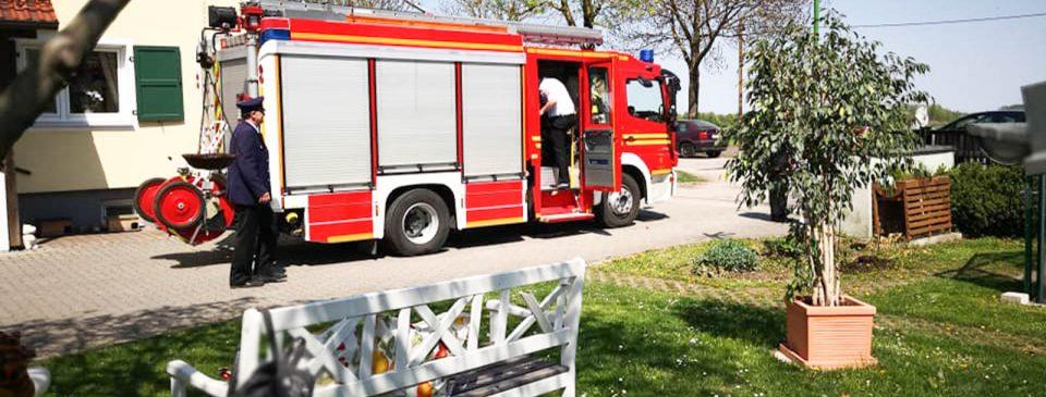 für das Hoffest kam die Feuerwehr